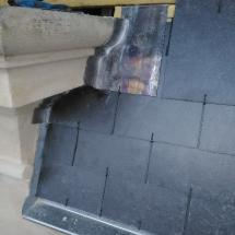 Habillage de sous bresis en ardoise réalisé par Odul couverture a Paris rue courcelles.
