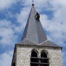 Intervention sur le clochet d'Abecourt réalisé par Odul couverture couvreur cordiste.